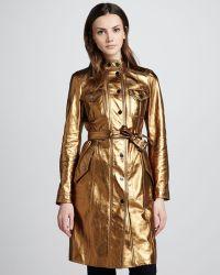 Burberry Metallic Leather Trench Coat - Lyst