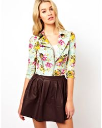 Darling - Floral Lace Print Biker Jacket - Lyst