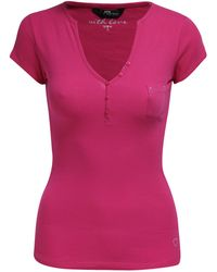 Jane Norman Basic Henley Top pink - Lyst