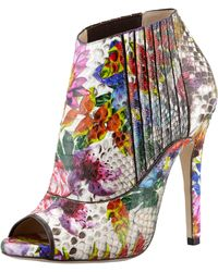 Jimmy Choo Bolt Painted Python Peeptoe Bootie - Lyst