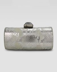 Overture Judith Leiber - Megan Embossed Cylinder Minaudiere Silver - Lyst