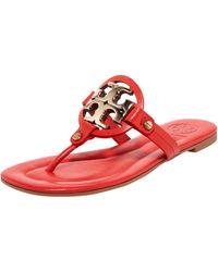 Tory Burch Miller Logo Flat Thong Sandal - Lyst