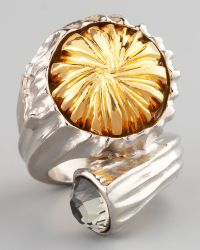 Saint Laurent Mixed Metal Snail Ring - Lyst