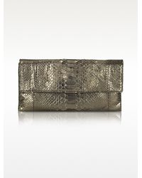 Abaco - Gala Metallic Python Leather Cluch - Lyst