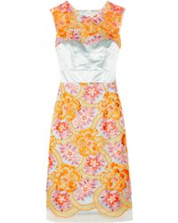 Erdem Innes Neon Embroidered Organza and Silk-Satin Dress - Lyst