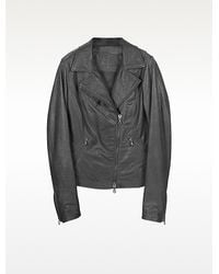 Forzieri Black Leather Motorcycle Jacket - Lyst