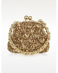 FORZIERI - Woven Straw & Leather Clutch Bag W/Chain Strap - Lyst