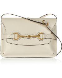 Gucci Bright Bit Leather Shoulder Bag beige - Lyst