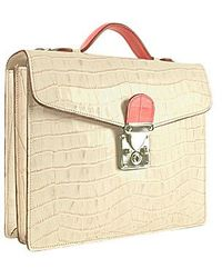 L.A.P.A. - White & Fuchsia Croco-embossed Double Gusset Mini Briefcase - Lyst