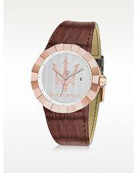 Maserati - Tridente Rose Golden Stainless Steel Chrono Watch - Lyst