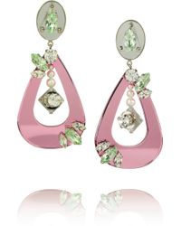 Miu Miu Swarovski Crystal and Plexiglass Clip Earrings - Lyst