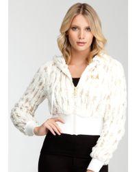 Bebe - Sequin Faux Fur Hoodie Web Exclusive - Lyst