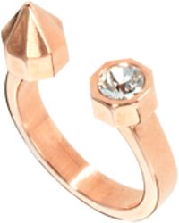 Maria Francesca Pepe - Open Ring with Stud and Swarovski Crystal - Lyst