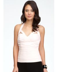 Bebe Cutout Shirred Halter Top - Lyst