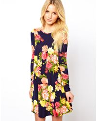 ASOS - Asos Swing Dress in Large Yellow Floral Print - Lyst