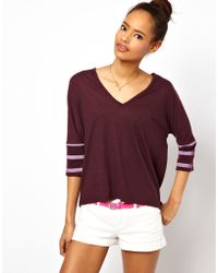 ASOS Collection Asos T-Shirt with V Neck and Striped Sleeves - Lyst