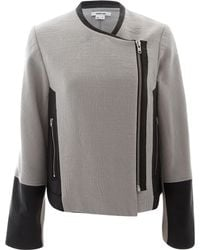 Helmut Lang Grey Jacquard Leather Trim Jacket - Lyst
