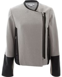 Helmut Lang Grey Jacquard Leather Trim Jacket gray - Lyst