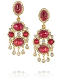Kenneth Jay Lane Goldplated Cabochon Clip Earrings red - Lyst