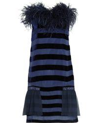 Lulu & Co Feather Trimmed Dévoré Velvet Dress - Lyst