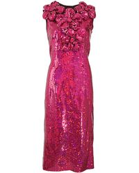 Marc Jacobs Sleeveless Flower Appliqu and Sequined Dress - Lyst