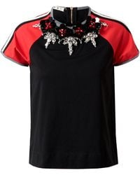 Marni Embellished Retro Cotton Tshirt red - Lyst