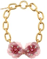 Miu Miu Necklace with Oversized Flower Embellishment gold - Lyst