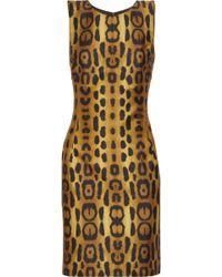 Oscar de la Renta Leopard-print Silk-blend Dress - Lyst