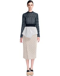 Proenza Schouler Embroidered Irregular Lace Long Sleeve Peplum Dress - Lyst
