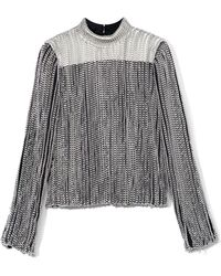 Proenza Schouler Embroidery Chain Long Sleeve Standing Collar Top - Lyst