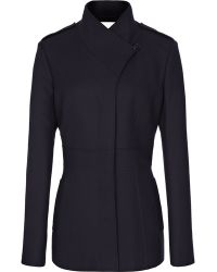 Reiss Pearla Nipped Waist Panelled Coat Navy - Lyst