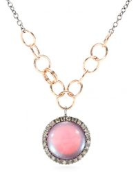 Roberto Marroni - 18kt Oxidized Gold Chain Link Necklace With Mother Of Pearl Pendant And White Diamonds - Lyst
