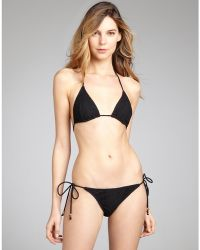 Shoshanna Black Lace Goldtone Bead Detailed String Bikini Bottom - Lyst