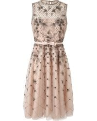 Valentino Embellished Mesh and Organza Dress pink - Lyst