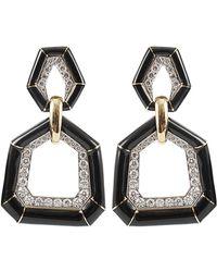 David Webb | Black Enamel Earrings with Diamonds | Lyst