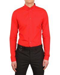 Dior Homme Cotton Poplin Shirt red - Lyst
