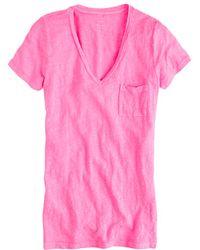 J.Crew Linen V-Neck Pocket Tee pink - Lyst