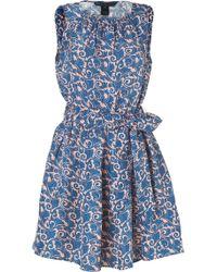 Marc By Marc Jacobs Apricot Rosemulti Silk Tootsie Flower Shorter Dress blue - Lyst