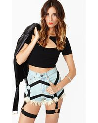 Nasty Gal Harness Cutoff Shorts - Lyst