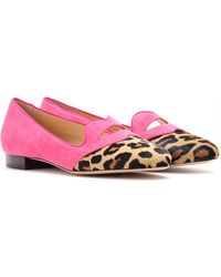 Charlotte Olympia Bisoux Suede Slipperstyle Loafers - Lyst