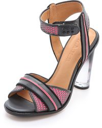 L.A.M.B. - Carter Sandals with Lucite Heel - Lyst