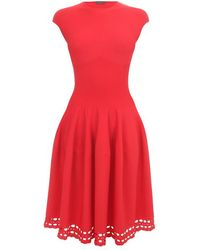 Alexander McQueen Red Corseted Waist Full Circle Dress - Lyst