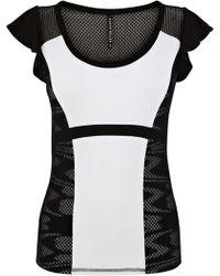 Karen Millen Sporty Colour Print Block Tshirt - Lyst