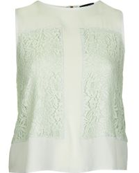 Topshop Sleeveless Lace Panel Shell Top - Lyst