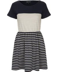 Topshop Contrast Stripe Skater Dress - Lyst