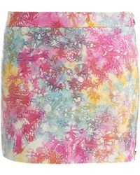 House Of Holland Tiedye Leather Skirt - Lyst