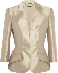 Alexander McQueen Tailored Silk Mikado Jacket - Lyst