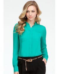 Bebe Welt Pocket Basic Silk Button Up Blouse - Lyst