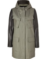 DKNY Oliveblack Coated Cotton Coat with Leather Sleeves - Lyst