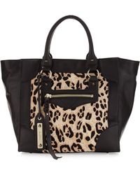 Sam Edelman Porter Snow Leopard Calf Hair Tote Bag black - Lyst